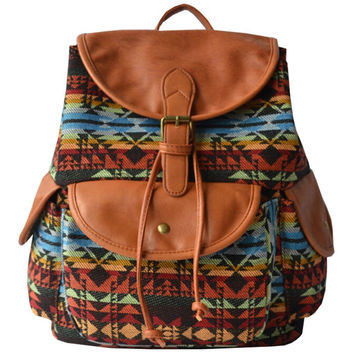 Women's Large Canvas Aztec Backpack Campus School Bookbag