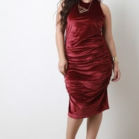 Ruched Velvet Sleeveless Midi Dress