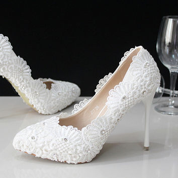 White Lace Heels Women Bridal Flower Shoes