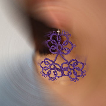 "Tatting earrings ""Violets ""- handmade jewelry - lace earrings - Bridesmaid - OOAK - Wedding -gift for birthday - Christmas gift"