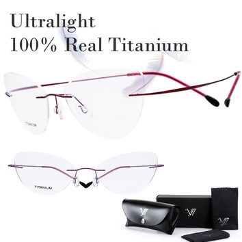 100% Real Titanium Rimless Prescription Glasses Frame Women Classic Eyeglasses Myopia Optical Oculos Gafas De Grau Silhouett New