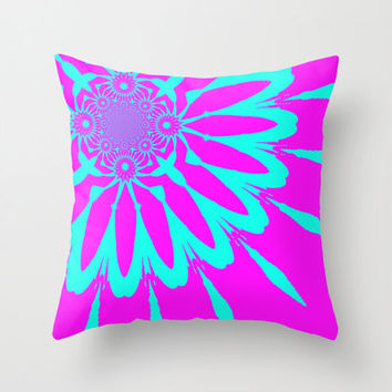 Pillow Cover, Throw Pillow, Turquoise & Fushia Modern Flower Pillow, Hot Pink Pillow, Dorm Decor, Rainbow Pillow, Kids Decor, Bedroom Decor