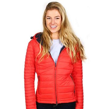 Landry Baffle Quilted Jacket in Flare and Navy by Barbour