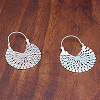 Sterling silver hoop earrings, Aztec Magnificence