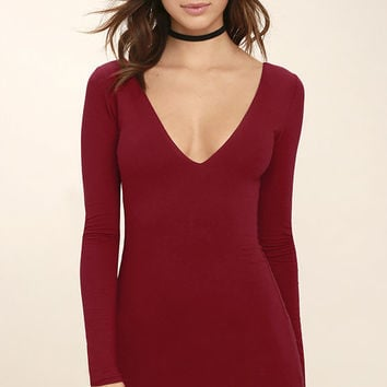 Cheers to the Night Dark Red Long Sleeve Dress