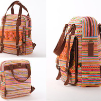 Southwestern Rucksack Cross Body Bag Traditional Embroidered Cross stitched Spring Summer Bag