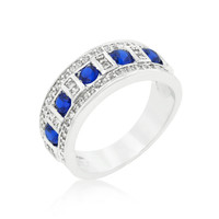 Blue and Clear Encrusted Silvertone Ring