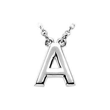 14K White Gold, Kendall Collection, Block Initial A Necklace, 16 Inch