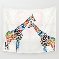 Colorful Giraffe Art - I've Got Your Back - By Sharon Cummings Wall Tapestry by Sharon Cummings
