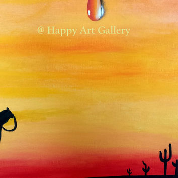 "Desert painting ""Quest for Water"", Acrylic Abstract Painting, Original Art desert camel dusk, gift idea original abstract artwork water drop"