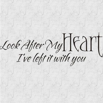 Look After My Heart Vinyl Wall Lettering Word by CreativeWallWords