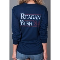 Reagan Bush '84 Long Sleeve Pocket Tee in Navy by Rowdy Gentleman