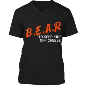Chicago Football  - B.E.A.R. off the CHEESE Funny DARE Mens Printed V-Neck T