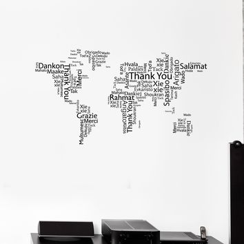 Best metal world map art products on wanelo vinyl wall decal world map thank you words cloud office space room art stickers mural gumiabroncs Choice Image