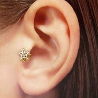 Rose gold plated wish star w/clear crystal Ear Cuff, Nose cuff, Tragus cuff,   Non Pierced Nose Ring, Cartilage, Fake piercing