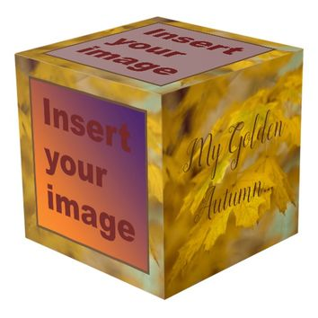 Yellow autumn maple leaves. Add you text and photo Cube