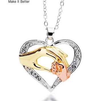 A Can't Resist Gift...... Mother Love Baby Child Rhinestone Big Hand Hold Little Hand Fashion Designer Heart Pendant Necklace Mom Birthday Gift Jewelry