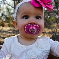 Sale Sale Sale Pacifier bling with crystals.. hot pink and crystal white..rhinestone pacifier..baptism..christian..easter..birthday