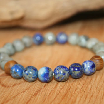 Lapis Lazuli & Green Spot Jasper Mala Bracelet, Yoga Jewelry, Beaded Stretch Bracelet, Gray Blue Bracelet, Gift for Him Her