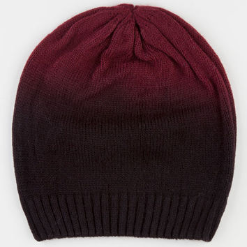 Ombre Cable Knit Beanie Burgundy One Size For Women 22365532001
