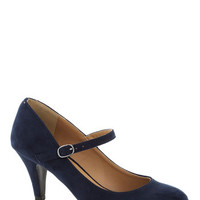 ModCloth Minimal Talk of the Office Heel in Blueberry