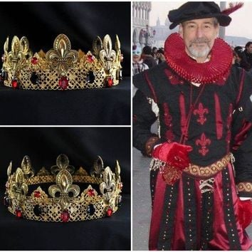 Gold Red Mens Medieval King Crown Lenzo Crown, The Tudors,
