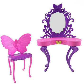 2 Pieces /Set  Rose  Plastic Dresser with Mirror For Barbie Dolls HU