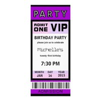 Ticket 21st Birthday Party Invitations Purple from Zazzle.com