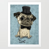 Pug; Gentle Pug (v3) Art Print by Barruf