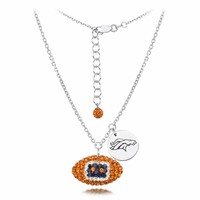 Denver Broncos Silver and Crystal Necklace Jewelry. NFL Jewelry
