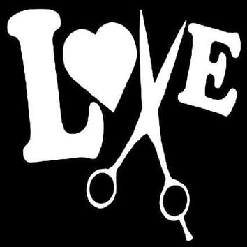 Hair Dresser Love Scissors Vinyl Car/Laptop/Window/Wall Decal