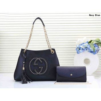 GUCCI Newest Popular Women Leather Handbag Shoulder Bag Crossbody Satchel Wallet Purse Two Piece Set Navy Blue