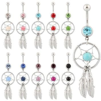 LMFUS4 Belly button ring Body piercing Jewelry Dangle Dream Catcher Crystal Gem 14G Surgical Steel Nickel free 10 colors Free shipping