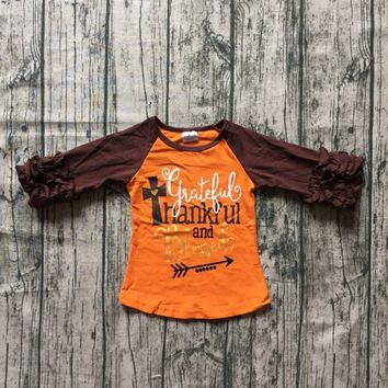 children girls thanksgiving raglans baby girls greatful thankful and blessed ragalns girls Thanksgiving party cotton raglans