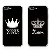 Valentine KING Queen Soft Phone Case For iPhone 6 6s Cases for Apple iPhone 5 5s Clear TPU Silicon Case For iPhone 7 Plus Cover