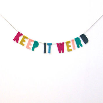 Keep It Weird Felt Party Banner in Vivid Rainbow