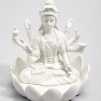 Hindu Laxmi Jewelry Dish | White Ceramic Jewelry Holder | fredflare.com