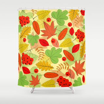 Autumn leaves Shower Curtain by Graf Illustration