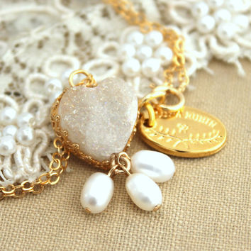 Druzy Gold Heart Pearls Necklace - 14k Gold filled necklace