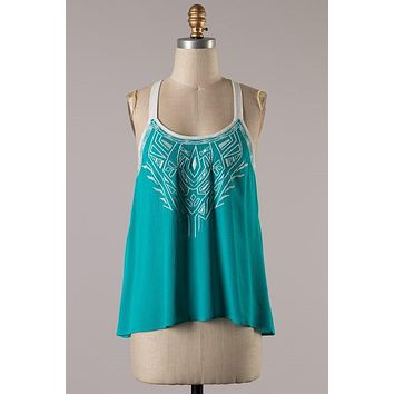 Embroidered Green Tank Top