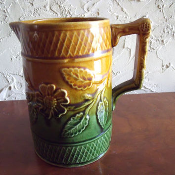 Vintage 1900s Earthenware Pottery Milk Pitcher Floral Motif Marked England