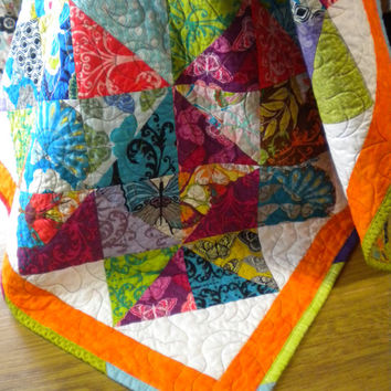 "Quilted Wall Hanging, Quilted table topper, Bright wall hanging, Valori Wells quilt, 31"" x 31"", orange & turquiose quilt, scrappy patchwork"