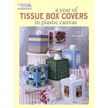 A Year of Tissue Box Covers in Plastic Canvas