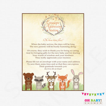 Woodland Baby Shower Sign Envelope Addressing Station Woodland Animals Baby Shower Games Deer Fox Instant Download Printable Rustic Boy WD01
