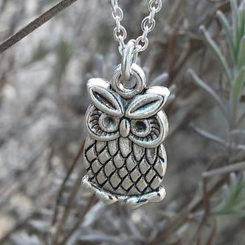 Owl Charm Necklace, Silver Owl Necklace, Owl Pendant Necklace