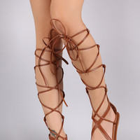 Wild Diva Lounge Strappy Studded Lace Up Gladiator Flat Sandal