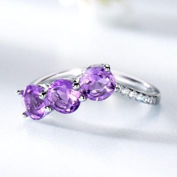 1.8ct Natural Amethyst Genuine 100% 925 Sterling Silver Engagement Rings For Women Silver 925 Jewelry Christmas Gift