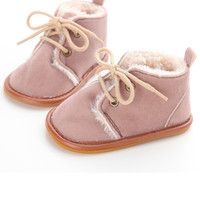 Faux Fur Oxfords-Blush Pink