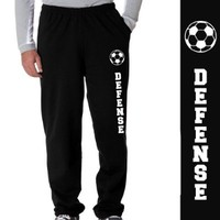 Soccer Defense Fleece Sweatpants Adult Small on Black
