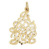 Gold charms- 14K GOLD SAYING CHARM - I LOVE YOU #10189